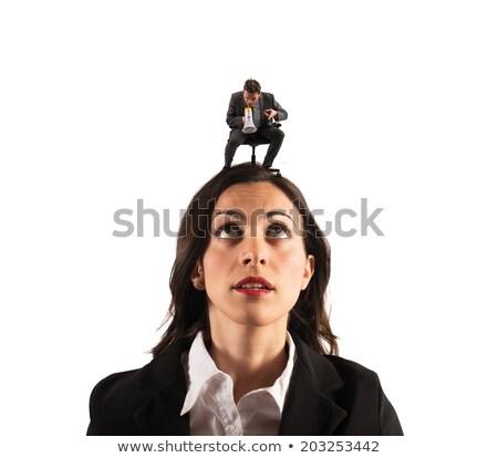 Сток-фото: страшно · малый · бизнес · человека · глядя · большой · деловой · человек