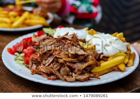 Sült kebab zöldségek tányér étel tyúk Stock fotó © tycoon