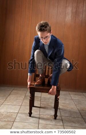 Adam ayakta sandalye düşmek zemin ofis Stok fotoğraf © AndreyPopov