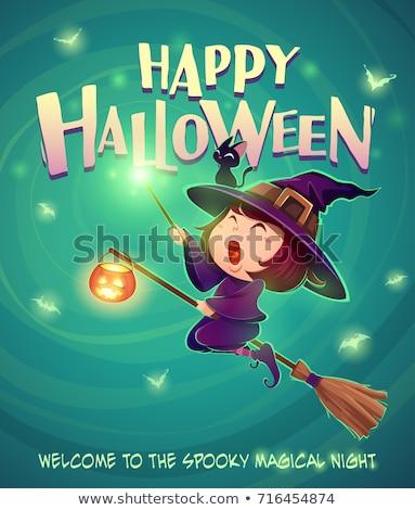 Kicsi boszorkány türkiz boldog halloween aranyos Stock fotó © choreograph