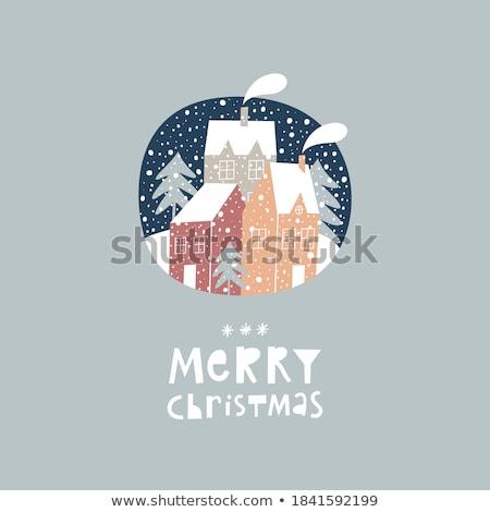 Ev kar yağışı Noel tebrik kartı poster Bina Stok fotoğraf © ikopylov