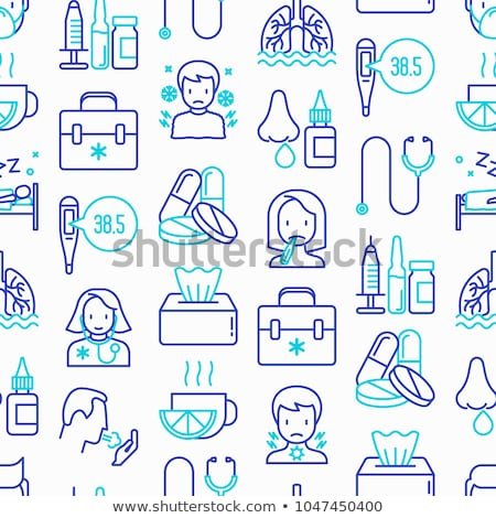 Flu and cold treatment seamless background pattern Stock photo © vectorikart