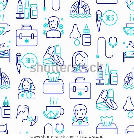 Grypa zimno leczenie proste wektora Zdjęcia stock © vectorikart