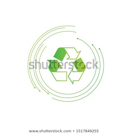 Recycling Zeichen drei Pfeile futuristisch Kreise Stock foto © kyryloff