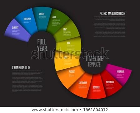 Pełny rok timeline szablon ciemne wersja Zdjęcia stock © orson