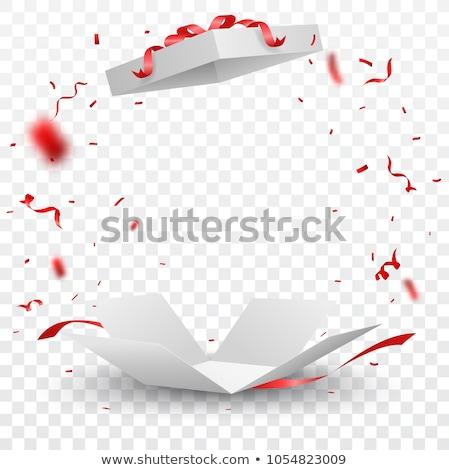 Caja de regalo arco confeti color vector Foto stock © pikepicture