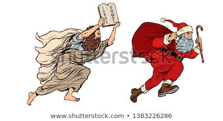 Moses and Santa Claus. Dispute old and new. Tradition versus secular Stock photo © studiostoks