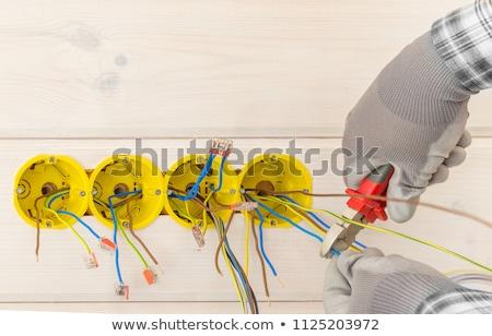 Сток-фото: электрик · гнездо · дома · кабеля