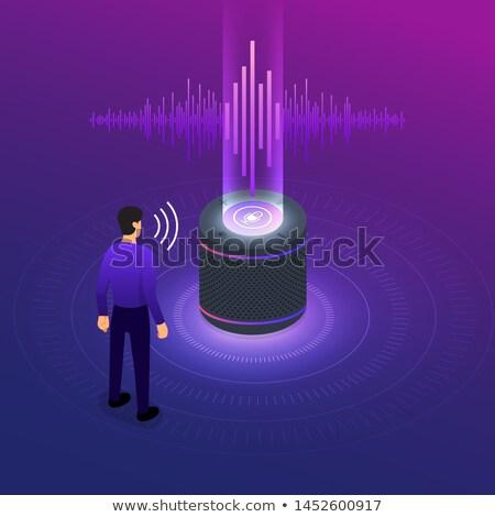 машина · голосом · контроль · икона · вектора · тонкий - Сток-фото © pikepicture
