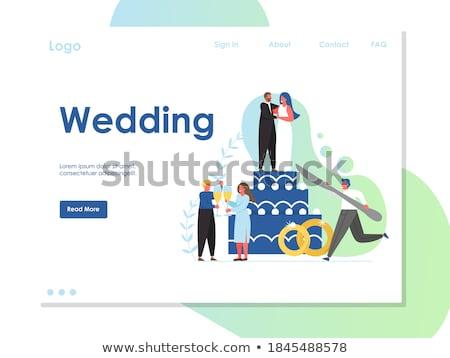ślub strony app interfejs szablon oblubienicy Zdjęcia stock © RAStudio