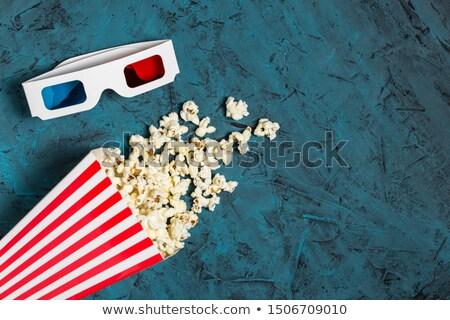 попкорн · 3d · очки · кино · два · синий · фильма - Сток-фото © furmanphoto