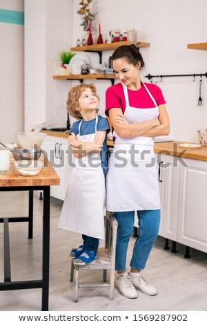 幸せ 愛らしい 少年 母親 白 腕 ストックフォト © pressmaster