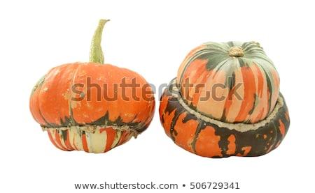 Two striped orange Turks Turban squashes and a green gourd Stock photo © sarahdoow