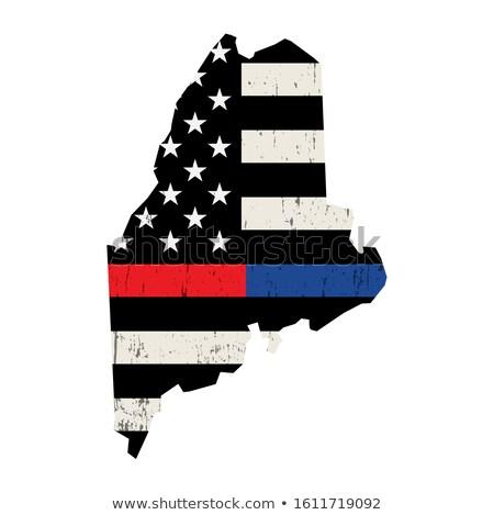 Maine policji strażak wsparcia banderą ilustracja Zdjęcia stock © enterlinedesign