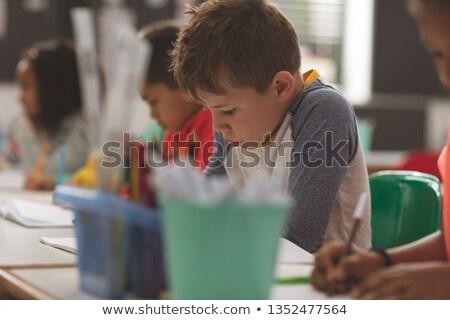 Kaukasisch schooljongen notebook klas vrouw Stockfoto © wavebreak_media