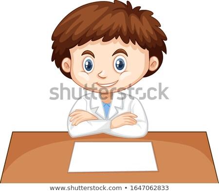 Menino ciência vestido sessão tabela ilustração Foto stock © bluering