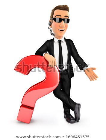 3d security agent leaning against question mark Stock photo © 3dmask