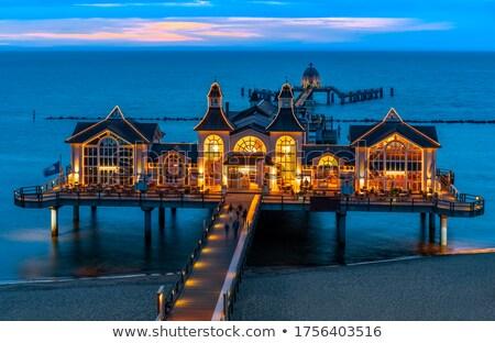 морем пирс ночь передний план пляж Сток-фото © elxeneize