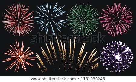 Salute - vector isolated on black background. Festive Firework Stock photo © designer_things