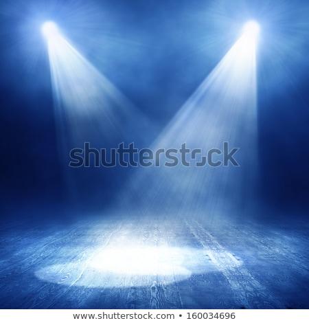 Heldere Blauw gordijn spotlight verlichting retro Stockfoto © evgeny89
