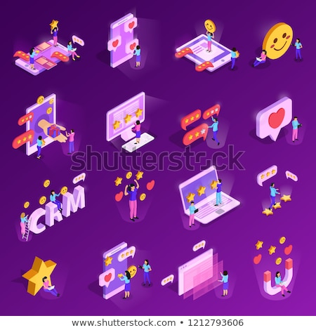 Loyalty Program For Customer Isometric Icons Set Vector Stock photo © pikepicture