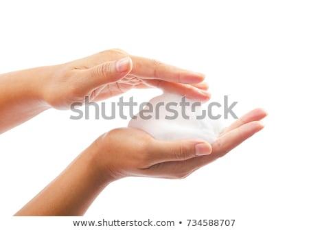 Schuim hand geïsoleerd witte teken succes Stockfoto © goir