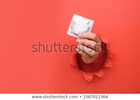 Condoom vinger witte hand onderwijs leuk Stockfoto © posterize
