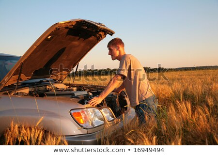 Man at offroad car with  lifted cowl on wheaten field Stock photo © Paha_L