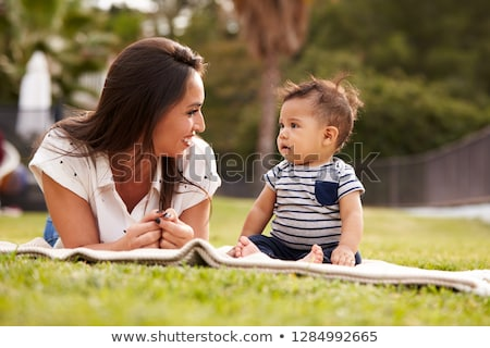 mother with baby sit on grass Stock photo © Paha_L