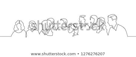 Stock fotó: Vonal · művészet · fekete · toll · izolált · fehér