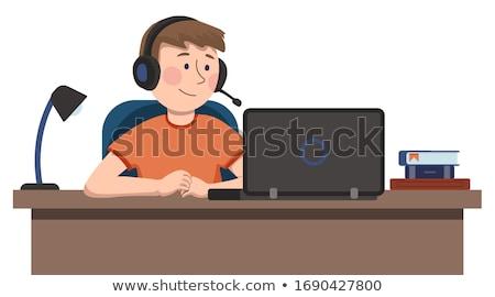 ストックフォト: 男子生徒 · ノートパソコン · ヘッドホン · 孤立した · 写真