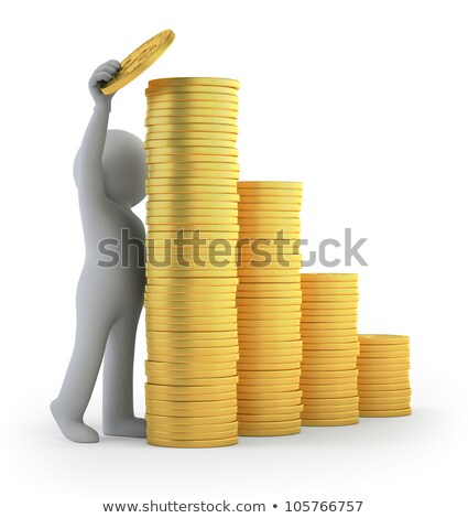 3d small people   gold coin stock photo © anatolym