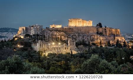 Acrópole · noite · Atenas · Grécia · céu · pôr · do · sol - foto stock © searagen