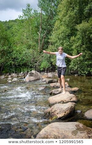 Zdjęcia stock: Kamienie · strumienia · charakter · most · krok
