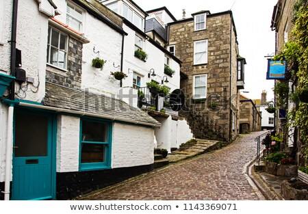 Wet cobblestones, St. Ives, Cornwall UK. Stock photo © latent