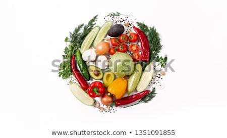 Kör zöldségek gyümölcs izolált fehér papír Stock fotó © adamson