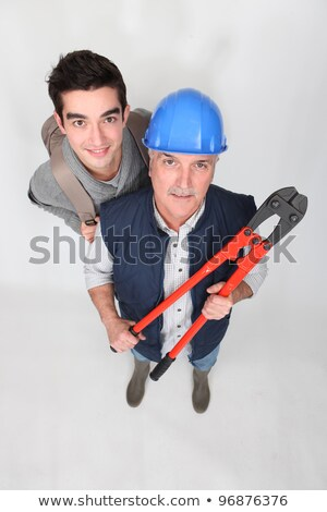 Eager young starter stood with manual worker Stock photo © photography33