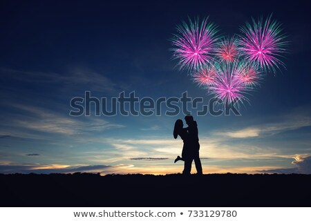 Párok sziluett tűzijáték buli tűz szeretet Stock fotó © AnnaVolkova