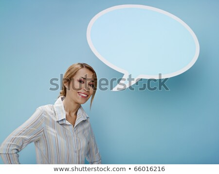 beautiful blonde near blank speech bubble stock photo © vlad_star