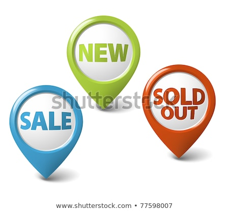 Vector round 3D icons for sale, new and sold out items stock photo © orson