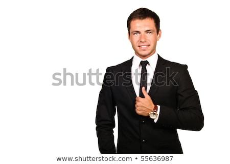 uomo · d'affari · sorridere · mani · piegato · bianco · isolato - foto d'archivio © get4net