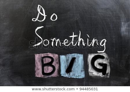 Krijttekening iets groot Blackboard onderwijs boord Stockfoto © bbbar