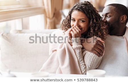 Nevet romantikus afroamerikai pár kék mosolyog Stock fotó © christinerose81