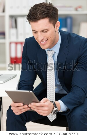 Stockfoto: Glimlachend · jonge · vent · technologie
