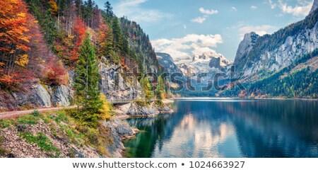 göl · alpler · feribot · Avusturya · gökyüzü · doğa - stok fotoğraf © broker