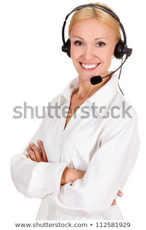 Stock photo: How can I help you? Call center operator against white