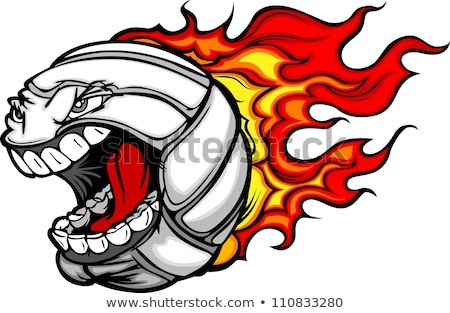 Volleyball Ball Flaming Face Vector Image Stock foto © ChromaCo