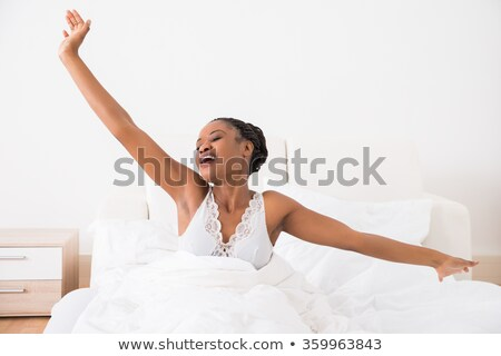 眠い · 女性 · ストレッチング · 腕 · 美しい · 若い女性 - ストックフォト © stryjek