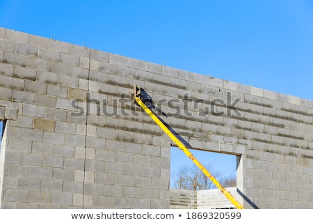 Stock photo: Mason supported by concrete wall