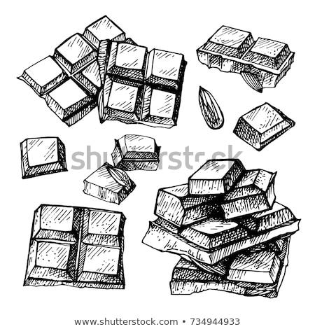 chocolate · mão · bonitinho · morena · mãos · olhando - foto stock © carlodapino